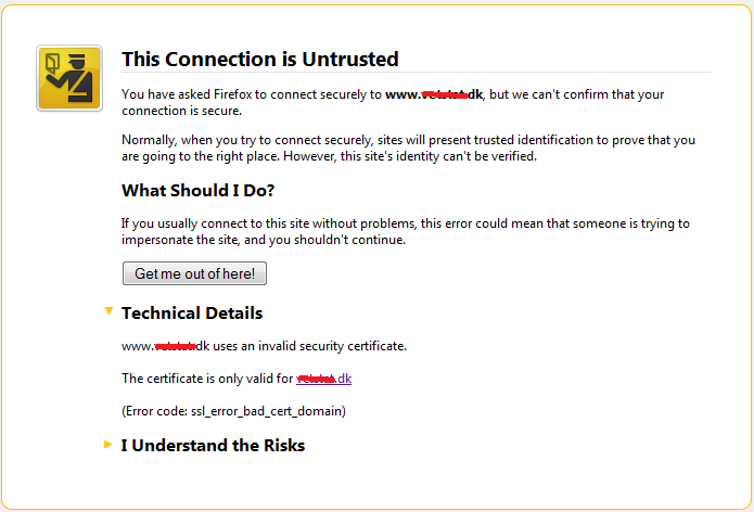 SSL security warning
