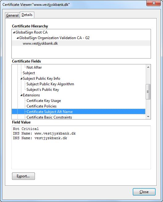 SAN certificate